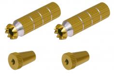Steuerknüppelendstück / Gimbal Stick End / Typ B in gold mit M3 Gewinde 2 Stück