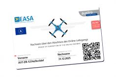 Drohnenführerschein / Kompetenznachweis im Scheckkartenformat für Fluggeräte im Hobbybereich