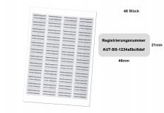 Ihre persönliche Registrierungsnummer / Kennzeichnungspflicht / 48 wetterfeste Etiketten 46x21mm