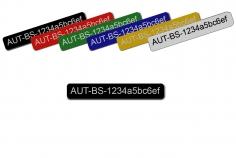 Feuerfestes Kennzeichnungsschild mit Klebefolie klein 45x8mm zum Beispiel für Ihre persönliche Registrierungsnummer