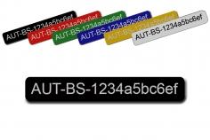 Feuerfestes Kennzeichnungsschild mit Klebefolie groß 80x12mm zum Beispiel für Ihre persönliche Registrierungsnummer