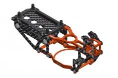 L-MA Precision Tuning Hauptrahmen aus Aluminium und Carbon in orange für OMPHOBBY M1 Heli