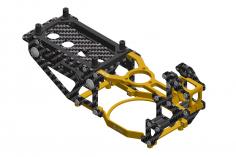 L-MA Precision Tuning Hauptrahmen aus Aluminium und Carbon in gelb für OMPHOBBY M1 Heli