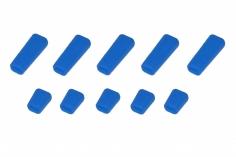 Schalterabdeckung eckig aus Soft Silikon in blau 10Stück, je 5x groß und 5x klein