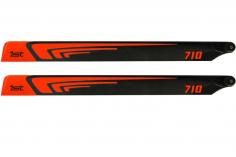 1st Hauptrotorblätter aus CFK 710mm in neon Orange