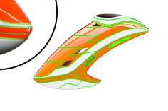 Abverkauf Mikado Haube LOGO 700, neon-orange/weiß/neon-orange / 2. WAHL hat einen Schaden an der Spitze