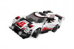 Wange Klemmbausteine Supercar Sportwagen in schwarz/weiß - 175 Teile