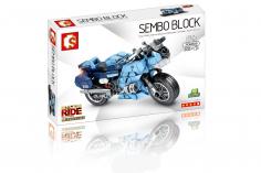 Sembo Klemmbausteine Motorrad auf Ständer in blau - 321 Teile