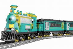 STS Klemmbausteine Türkise Dampflokomotive inkl. Schienenkreis (elektrischer Antrieb) - 879 Teile
