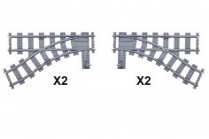 STS Klemmbausteine Eisenbahn Schiene 2x Weichen links und 2x Weichen rechts