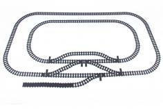 STS Klemmbausteine Eisenbahn Schienenkreis XL - Oval Innerer Schienenkreis groß mit Abstellgleis - 102 Teile