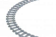 STS Klemmbausteine Eisenbahn Schiene Kurven/Gebogen im Karton - 30 Stück