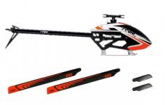 Tron 7.0 Heli Bausatz mit Haube in weiß orange mit 1ST RC Rotorblättern 690mm+115mm